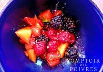 Salade de fruits au sucre de fleurs de palmiers