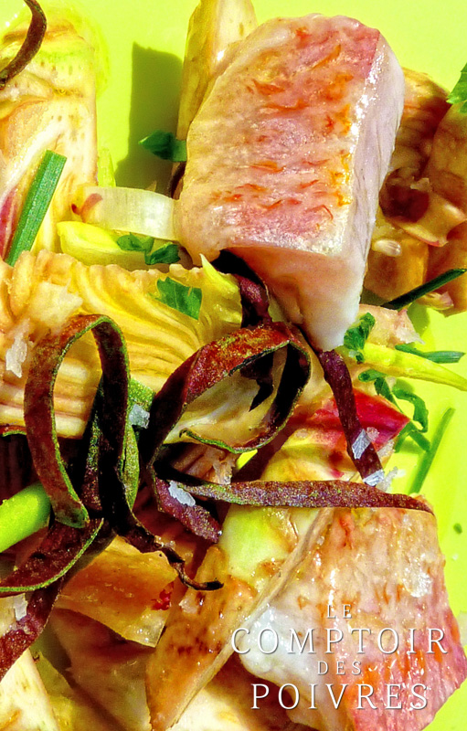 Salade printanière de rougets marinés et artichauts