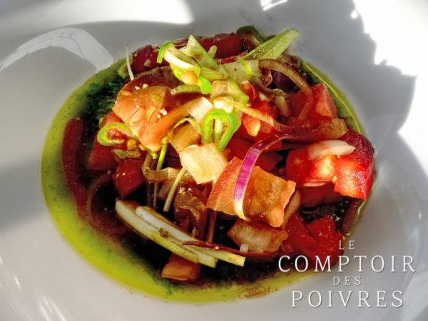Salade de tomates et pastèque